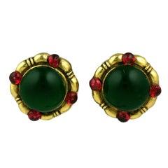 Chanel Poured Glass Emerald Earrings