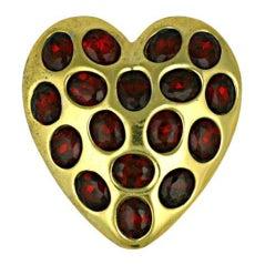Calvaire Retro Ruby Heart Clip Brooch
