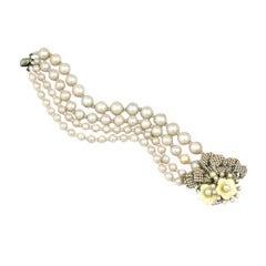 Rare Miriam Haskell Elaborate Fresh Water Pearl Bracelet