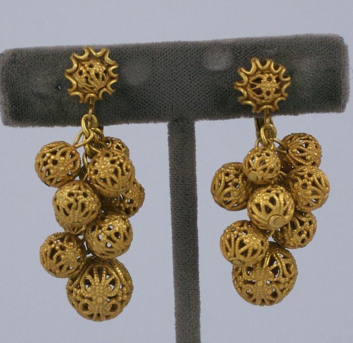 Miriam Haskell Gilt Filigree Grape Earrings 2