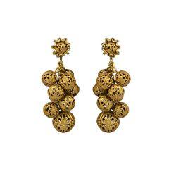 Miriam Haskell Gilt Filigree Grape Earrings