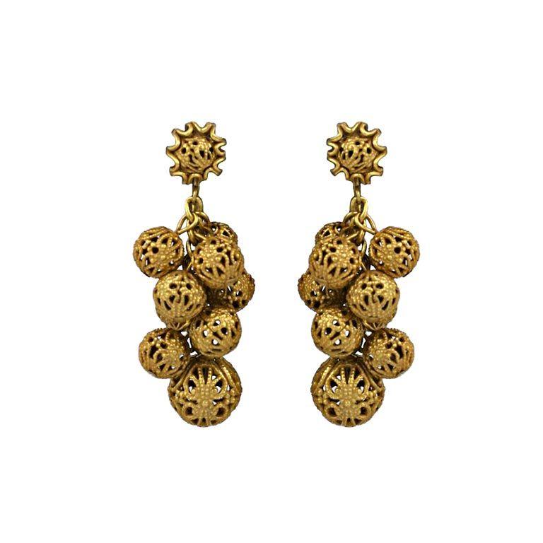 Miriam Haskell Gilt Filigree Grape Earrings 1