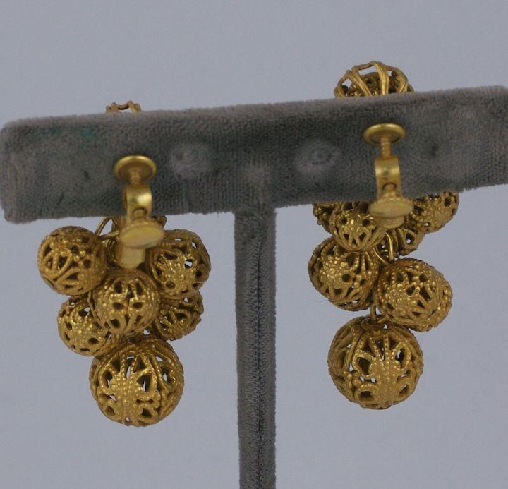 Miriam Haskell Gilt Filigree Grape Earrings 3