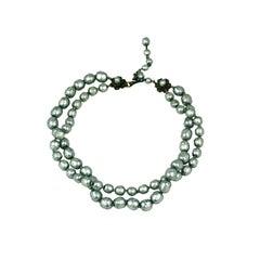 Miriam Haskell Silver Grey Pearl Necklace