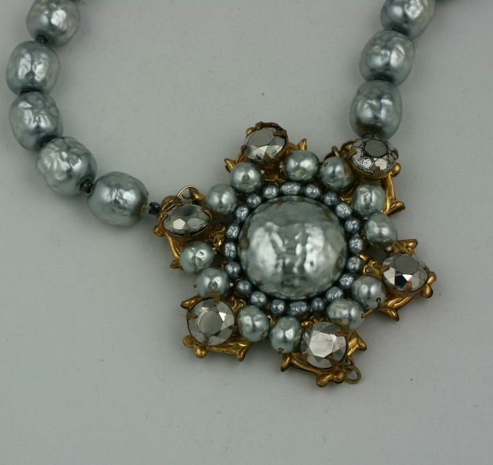 Women's Miriam Haskell Grey Baroque Pearl Necklace For Sale