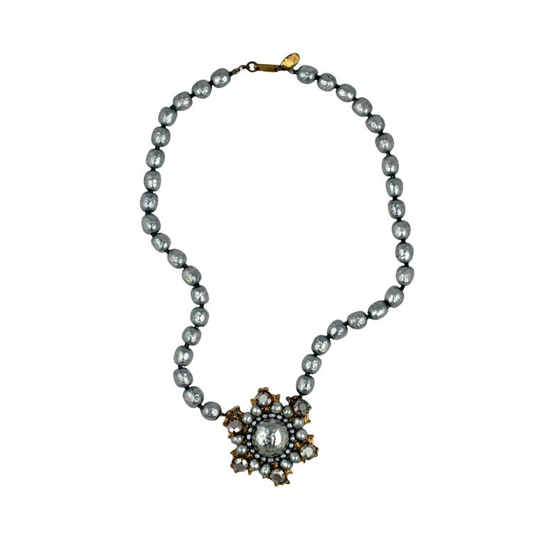 Miriam Haskell Grey Baroque Pearl Necklace For Sale