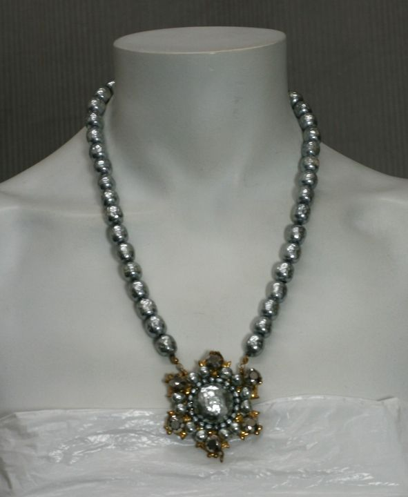 Miriam Haskell Grey Baroque Pearl Necklace For Sale 1
