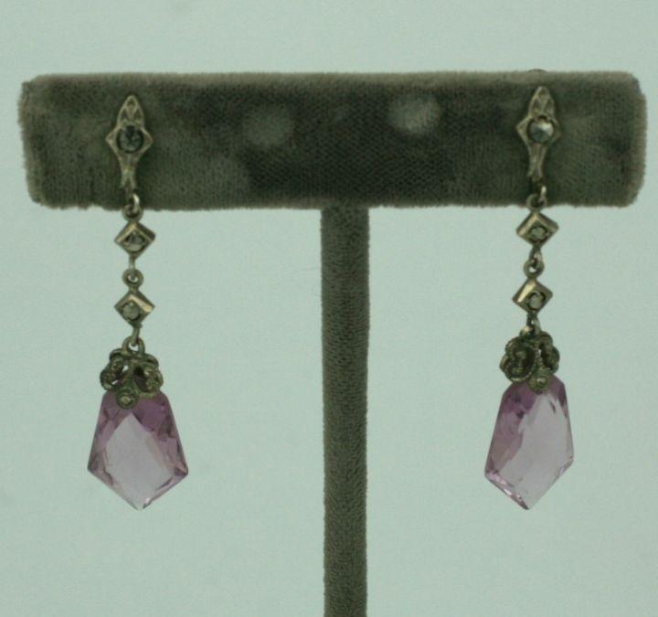 Art Deco  Czechoslovakia Marcasite Amethyst Crystal Earring 2