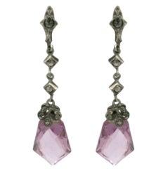 Art Deco  Czechoslovakia Marcasite Amethyst Crystal Earring
