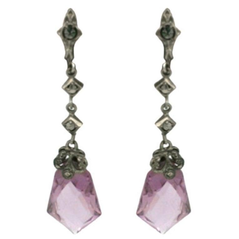 Art Deco  Czechoslovakia Marcasite Amethyst Crystal Earring 1