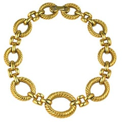 Attractive Givenchy Gilt Ribbed Chain Link Necklace