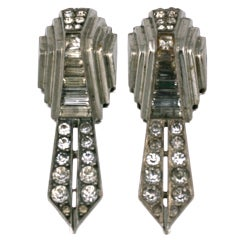 Mecan Machine Age Sterling French Deco Clips