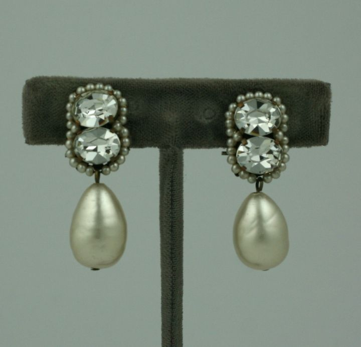 Louis Rousselet Pearl and Diamante Earrings 2