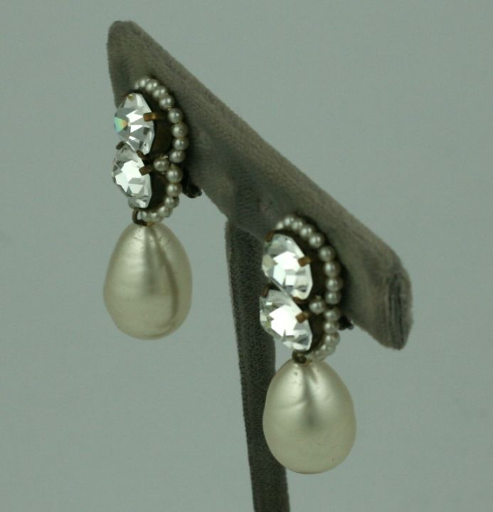Louis Rousselet Pearl and Diamante Earrings 3