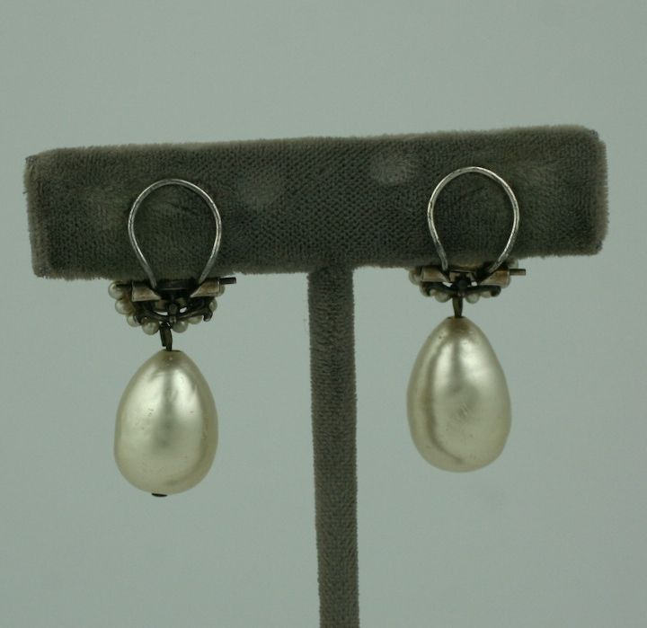 Louis Rousselet Pearl and Diamante Earrings 4