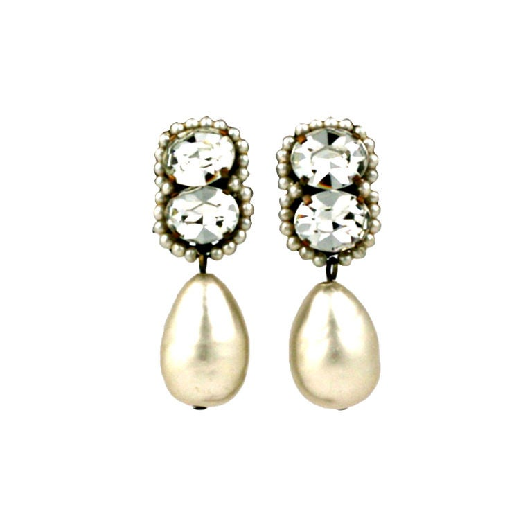 Louis Rousselet Pearl and Diamante Earrings 1