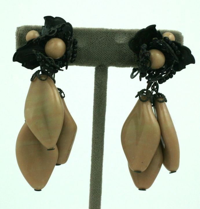Miriam Haskell Cafe Pate de Verre Earrings 2