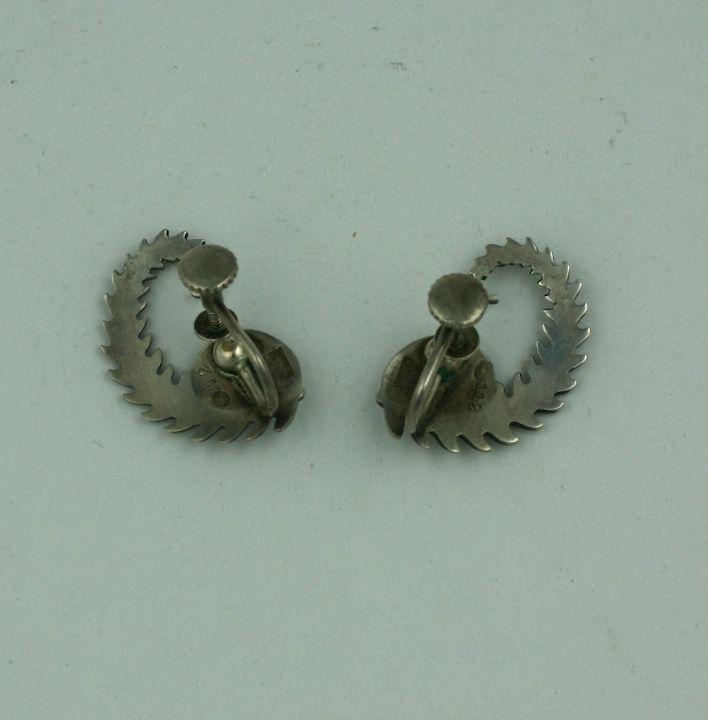 georg jensen fern earrings for sale at 1stdibs. Black Bedroom Furniture Sets. Home Design Ideas