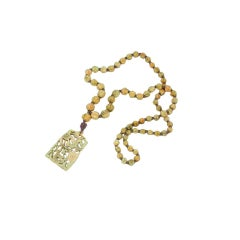 Art Deco Carved Bone Flapper Necklace