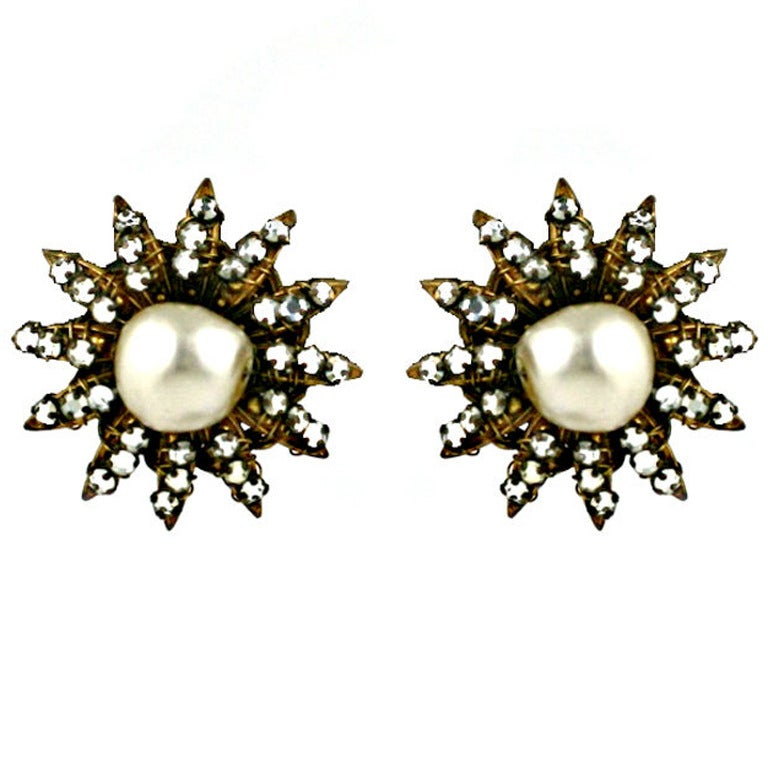 Attractive Miriam Haskell Star Earrings For Sale