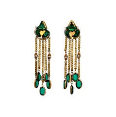 Miriam Haskell Emerald Crystal Long Earrings