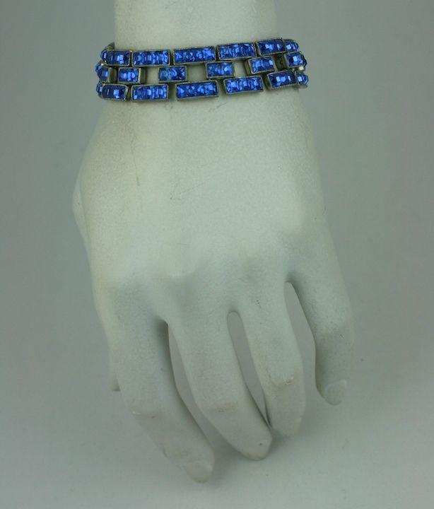 Deco Faux Sapphire Square Cut link Bracelet 3