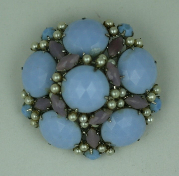Schreiner pastel and pearl brooch at 1stdibs for High design jewelry nyc