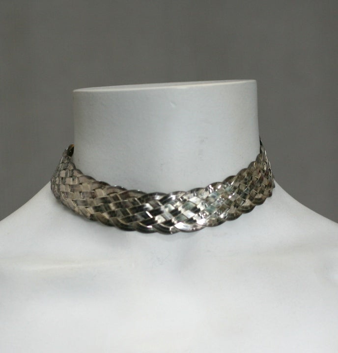 Attractive sterling woven flexible choker by Christian Dior from the 1980's. Timeless collar in excellent condition.