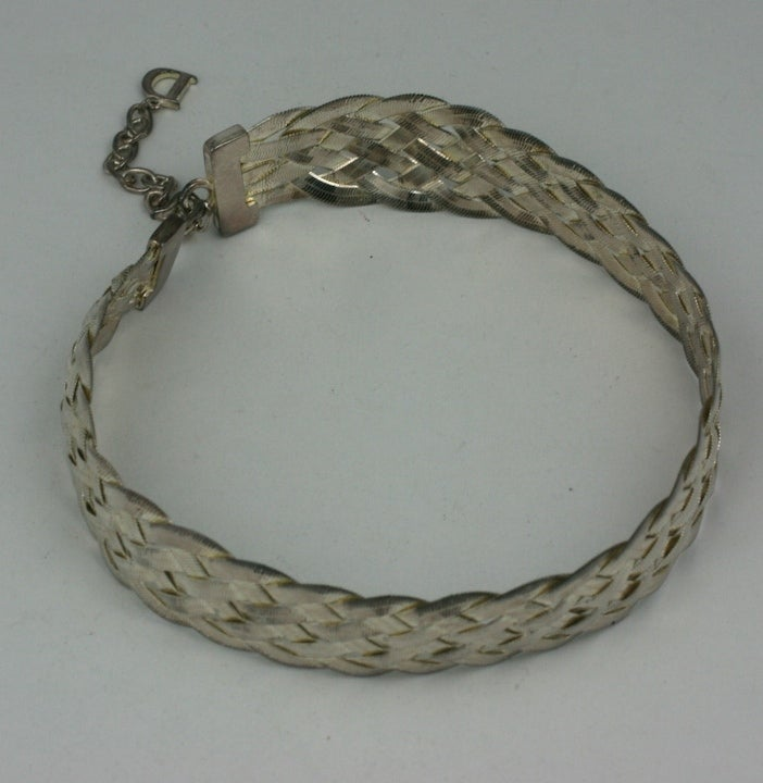 Dior Woven Sterling Choker In Excellent Condition For Sale In Riverdale, NY