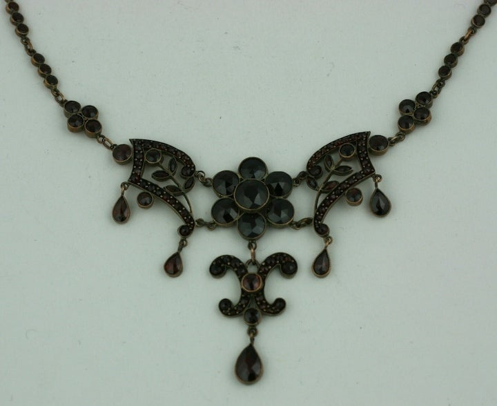 Women's Ornate Victorian Garnet Necklace For Sale