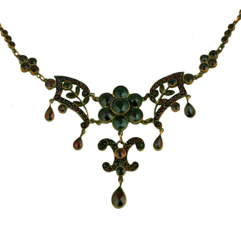 Ornate Victorian Garnet Necklace For Sale