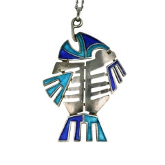 Silver and Enamel Articulated Italian Fish Pendant