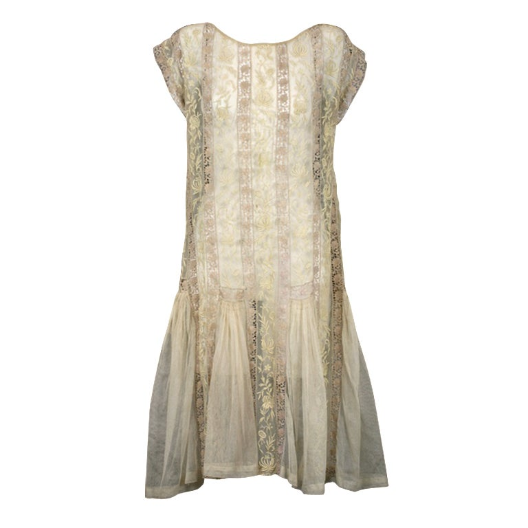 1920's Lace and Tulle Panel Dress 1