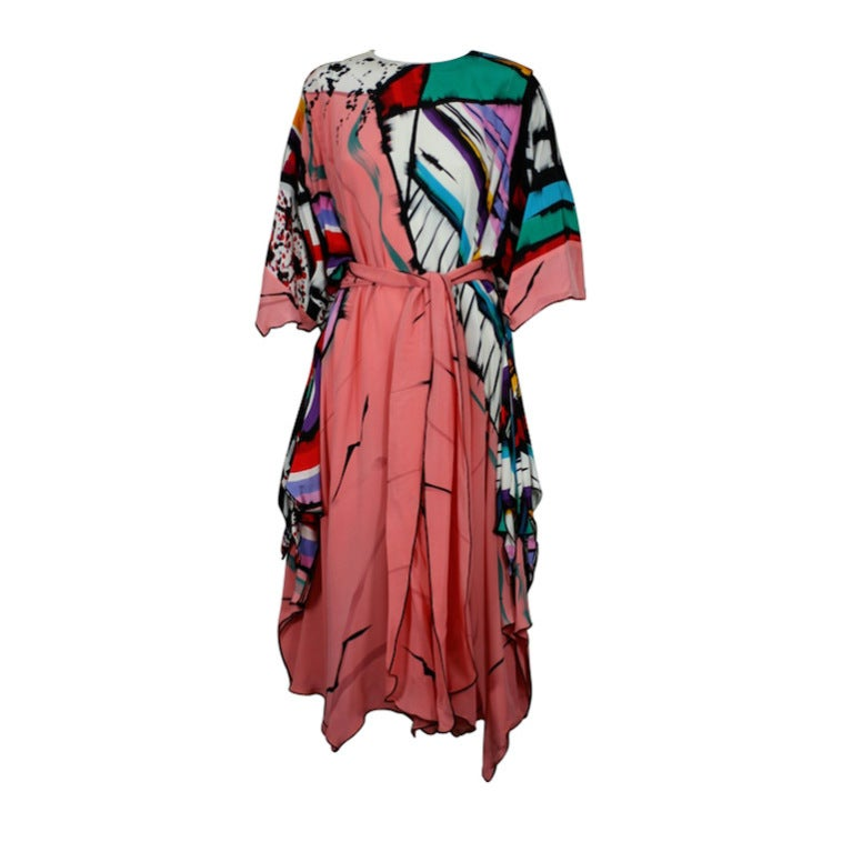 Hand Painted Silk Crepe Dress