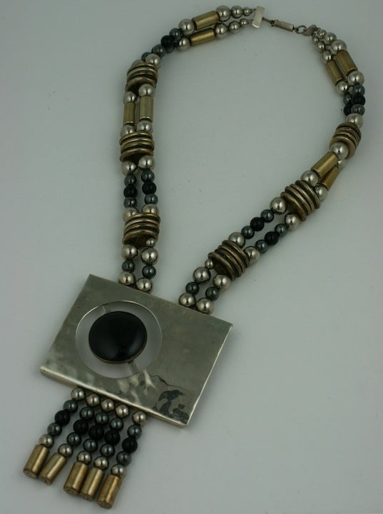 80's Chrome and Onyx Pendant 2