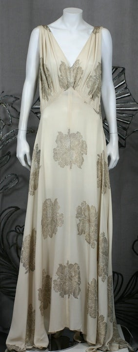 Art Deco French Lame Chiffon Floral Bias Gown 2