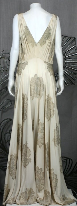 Art Deco French Lame Chiffon Floral Bias Gown image 3