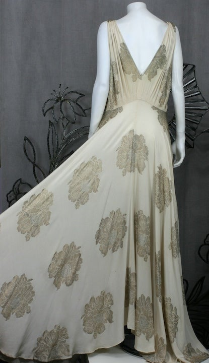 Art Deco French Lame Chiffon Floral Bias Gown image 4