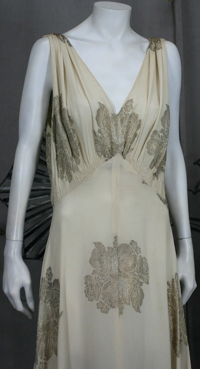 Art Deco French Lame Chiffon Floral Bias Gown 5