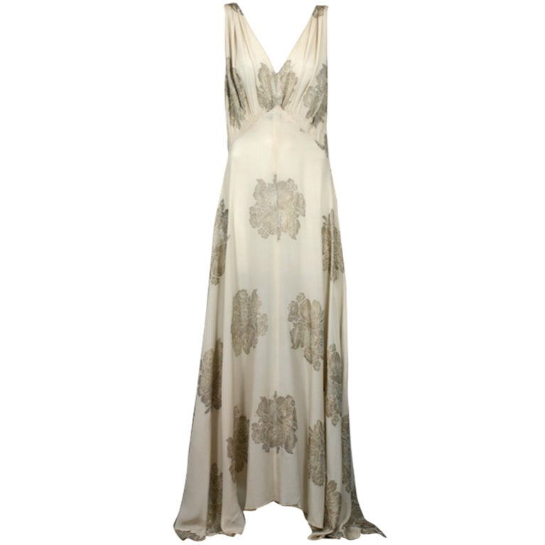 Art Deco French Lame Chiffon Floral Bias Gown