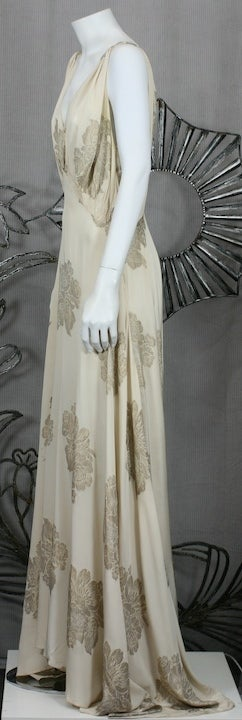 Art Deco French Lame Chiffon Floral Bias Gown image 7