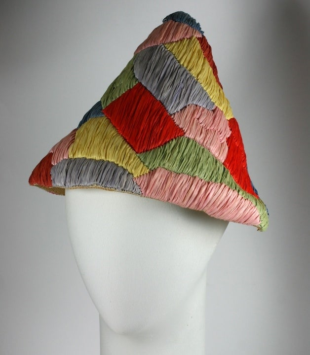 Italian Raffia and Straw Harlequin Pattern 1950s Resort Hat 2