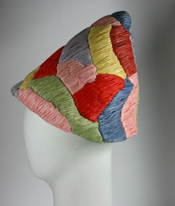 Italian Raffia and Straw Harlequin Pattern 1950s Resort Hat 3