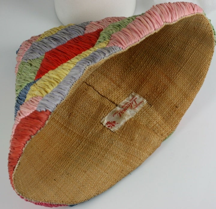 Italian Raffia and Straw Harlequin Pattern 1950s Resort Hat 5