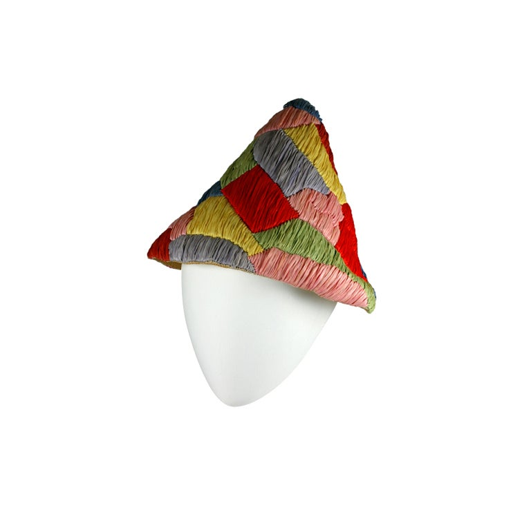 Italian Raffia and Straw Harlequin Pattern 1950s Resort Hat 1