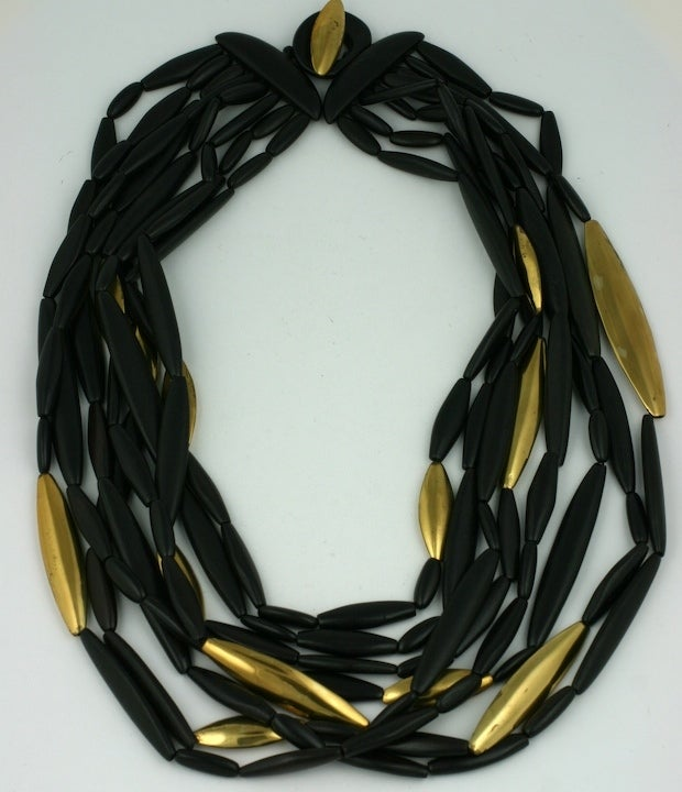 Teak and Gilt Multistrand Necklace 2