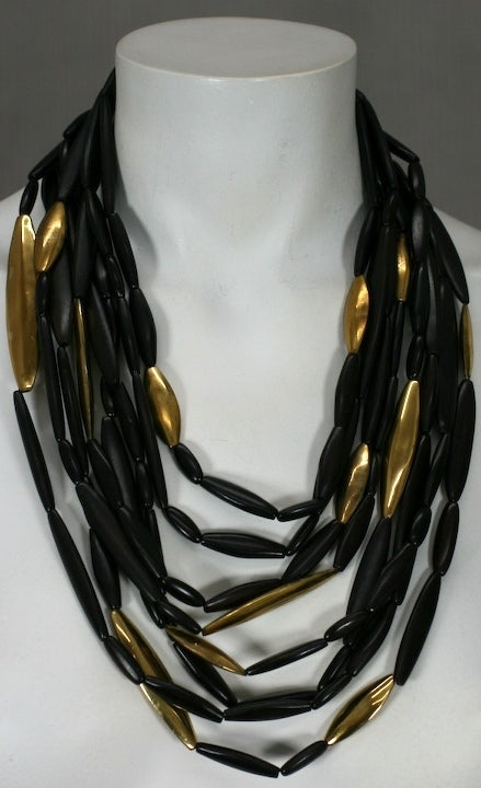 Teak and Gilt Multistrand Necklace 3