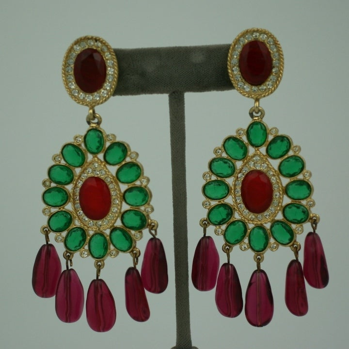 Kenneth Jay Lane Ruby and Emerald Chandelier Earrings at 1stdibs