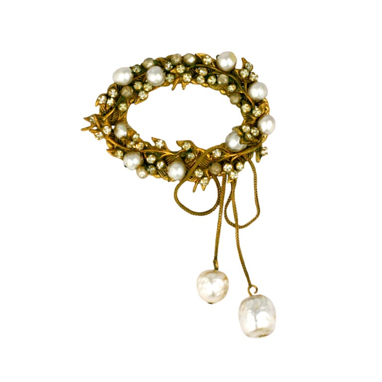 Miriam Haskell Pearl and Pave Wreath Brooch For Sale
