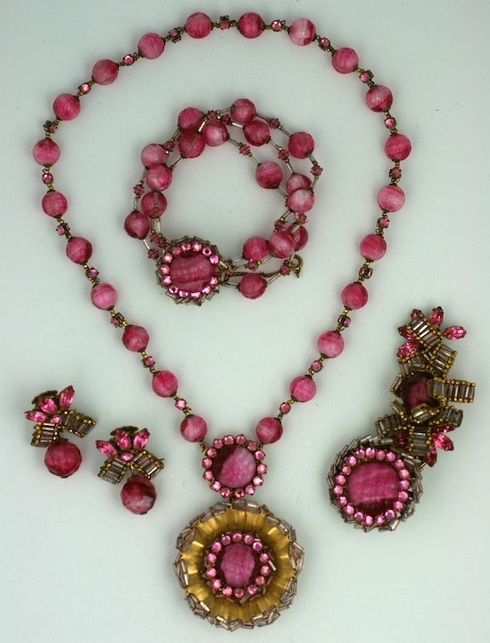 Wonderful Miriam Haskell Pink Venetian Glass  Suite 2